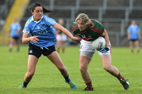 Sinead Goldrick and Cora Staunton in action for their counties in August.