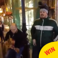 This lad from Derry expertly serenaded the people of Budapest with a blast of Horse Outside