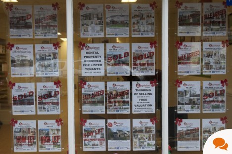 A new estate agents shop advertising private houses in Kilcullen Village in Co Kildare.