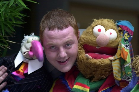 Former presenter of The Den Francis Boylan with Dustin and Socky.