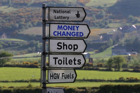 Signage at the border between Dundalk in the Republic of Ireland and Newry in Northern Ireland.