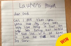 A little girl sent an adorable prayer into RTÉ about the Toy Show and her newborn sister