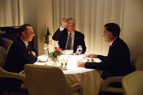 President-elect Donald Trump eats dinner with chief of staff Reince Priebus and former rival Mitt Romney at Jean-Georges restaurant in New York last night.