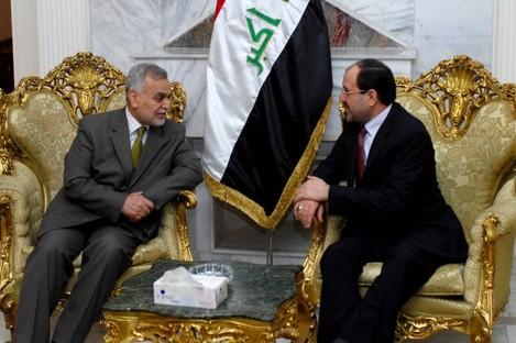 Iraq's two senior political figures are at odds with each other, Tariq al-Hashemi (L) and Nouri al-Maliki (R) (File photo)
