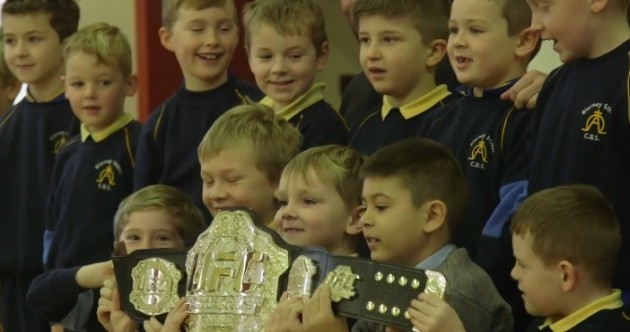 Kids at a Cork school received a visit from John Kavanagh and the UFC lightweight belt