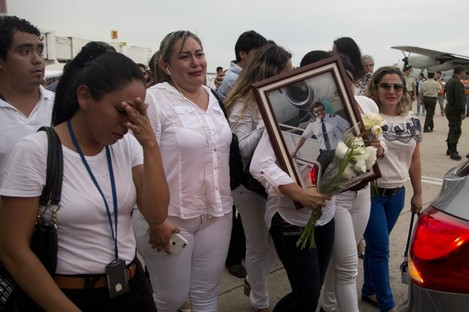 Relatives of LaMia pilot Marcelo Quiroga, who died in a plane crash in Colombia.