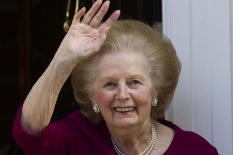 Margaret Thatcher outside her London home in November 2010