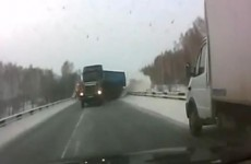 Video: Terrifying footage of jackknifing truck on Russian road