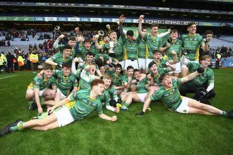 The St Brendan's team celebrate their Hogan Cup win last April.
