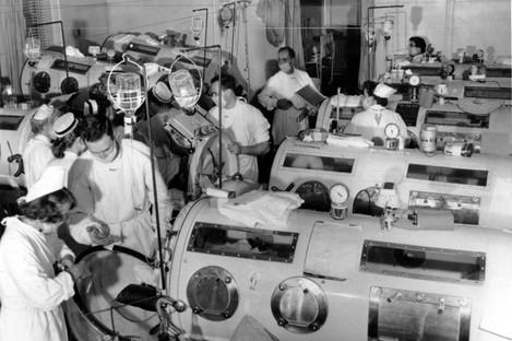 A scene in the emergency polio ward at Haynes Memorial Hospital in Boston, 1955.