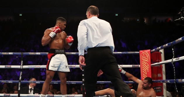 All too easy for Anthony Joshua as he floors Eric Molina in third round to retain title