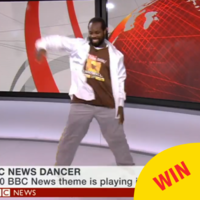 People are loving this guy busting a move to the BBC News theme tune, live on BBC News