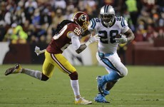 Stewart runs roughshod as Panthers topple Redskins