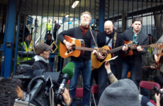 Glen Hansard just lead a huge Auld Triangle singalong outside Apollo House