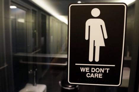 A toilet sign at 21c Museum Hotel in Durham, North Carolina