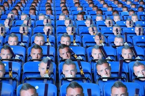 Jamie Vardy masks on the seats of the King Power Stadium.