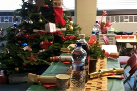 A Christmas dinner table set up in Apollo House on Sunday.