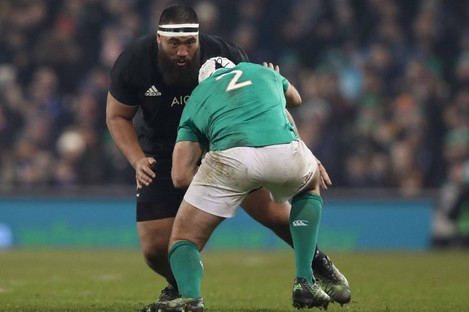 Ireland's Rory Best runs into New Zealand's Charlie Faumuina during last month's Test in Dublin.