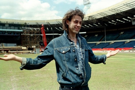 Bob Geldof at Wembley Stadium as it prepares for the Live Aid concert.