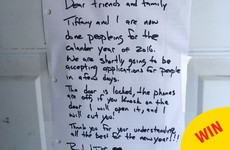 This couple stuck a sign on their front door to say they were 'done peopleing' for Christmas