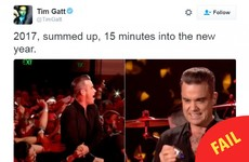 Robbie Williams was caught rapid using anti-bacterial gel after Auld Lang Syne-ing with fans
