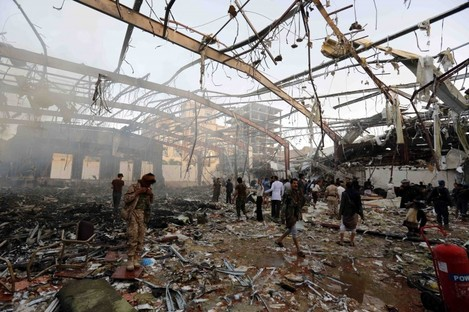 The aftermath of a Saudi-led airstrike in Huthi-held territory in Yemen.