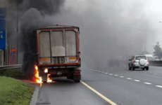 Temporary delays as truck went on fire on the M50