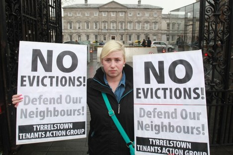 Gillian Murphy from Tyrrelstown protesting outside Leinster House.