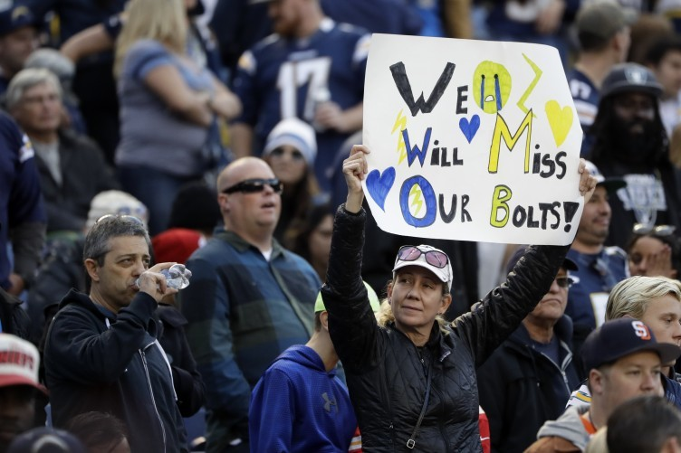 A Chargers fan during the New Year's Day clash with the Chiefs.