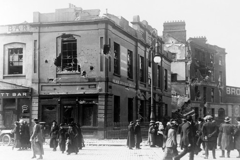 Trade unionist Jim Larkin's HQ left in ruins after the 1916 Rising in Dublin.