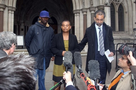 Stephen Lawrence's mother Doreen and brother Stuart (left) speak to the media outside the High Court in London earlier this year. Two men were today convicted of his murder.