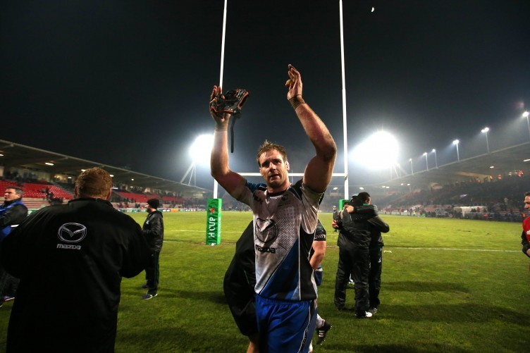 Clarke celebrates after Connacht's famous win in Toulouse.