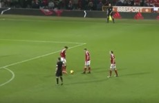 Stop what you're doing and savour this magical Nottingham Forest free-kick