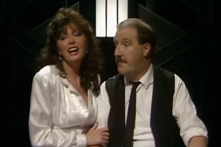 Kaye as Allo Allo's Rene and Vicki Michelle as Yvette on the Wogan Show in 1986.