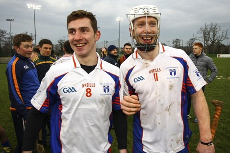 Clare's Colm Galvin and Limerick's Cian Lynch in action for victorious Mary Immaculate today.