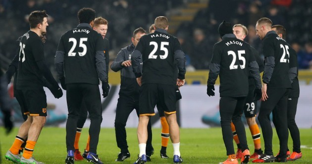 Hull players showed their support for team-mate Ryan Mason before tonight's game