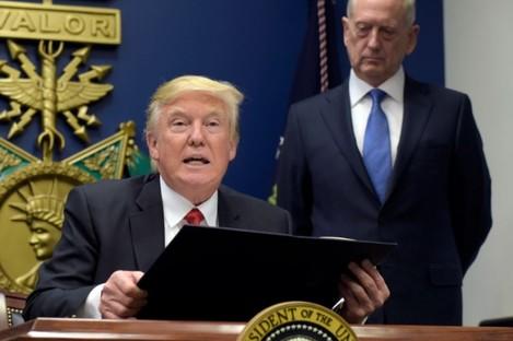 President Donald Trump with Defense Secretary James Mattis at the Pentagon in Washington on, Friday