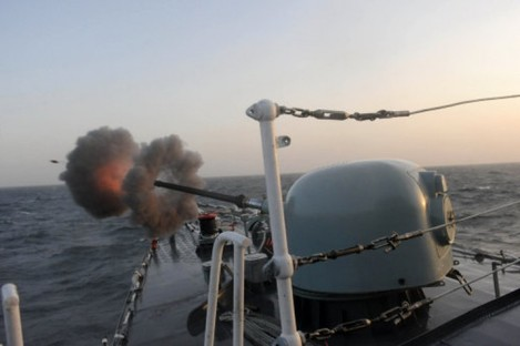 2010 photo of an Iranian military exercise in the Persian Gulf.