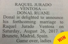 The best wedding announcement was featured in The Irish Times over the weekend