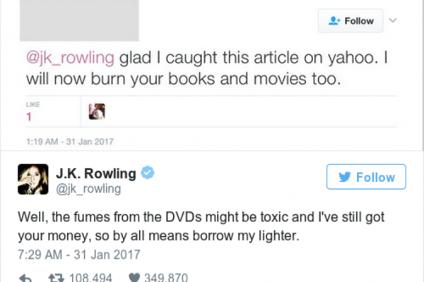 JK Rowling's running Twitter battle with Trump supporters