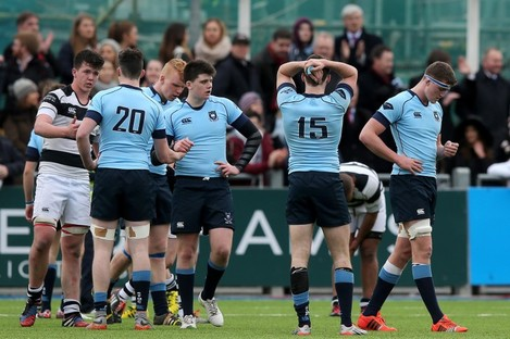 Current Ireland U20 captain Jack Kelly (number 15) reacts after losing the semi-final to Belvedere last year.