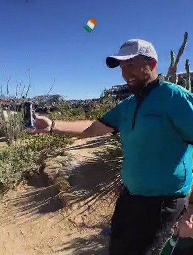 Shane Lowry gave out cans of Guinness to fans at the Phoenix Open