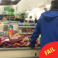 Domino's were caught rapid stocking up on cheap bags of potato wedges in a supermarket