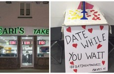 Macari's chipper in Glasnevin has set up a very cute speed dating table for Valentines