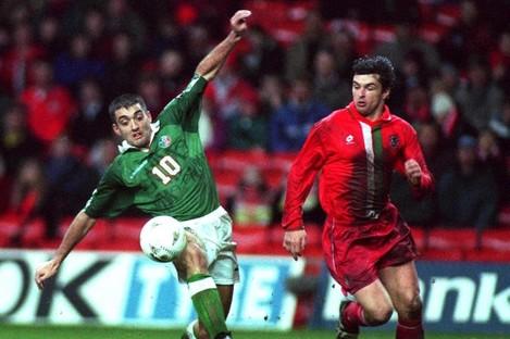 Jon Goodman alongside the late Gary Speed on his Ireland debut against Wales.