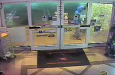 VIDEO: Two would-be burglars try to break through high-impact security glass... and fail