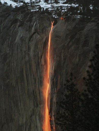 The sun is making this California waterfall look like molten lava