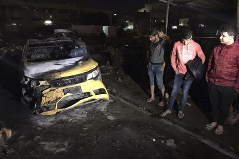 The scene of the car bomb in Baghdad