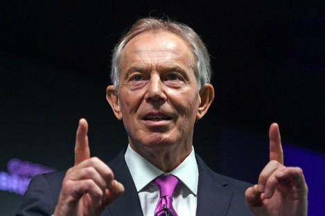 Former Prime Minister Tony Blair during his speech on Brexit at an Open Britain event in central London.