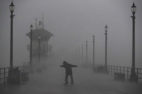 A Pacific storm is battering California at the moment. This picture was taken at Huntington Beach.